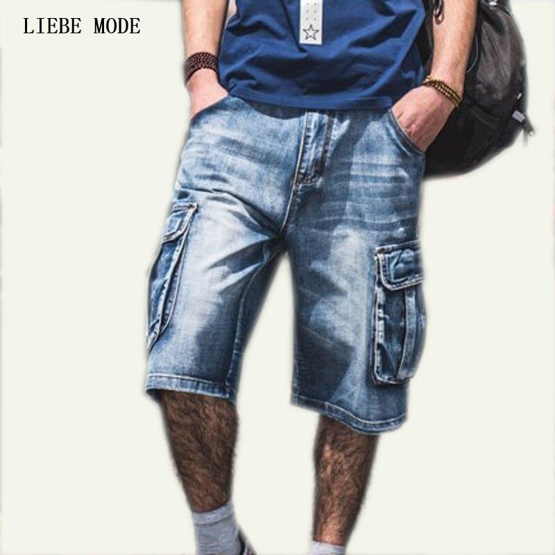 Plus Size Mens Denim Biker Baggy Cargo Blue Jeans Shorts ...