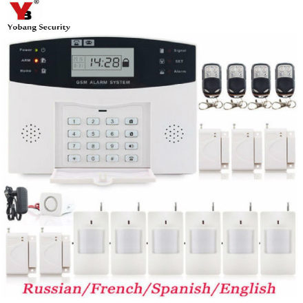 YobangSecurity LCD Screen GSM SMS Wireless Burglar Alarm Security Home System English Russian Spanish French Smoke Fire Sensor smartyiba wireless 433mhz gsm alarm system home burglar alarm system lcd keyboard fire smoke detector sensor russian french