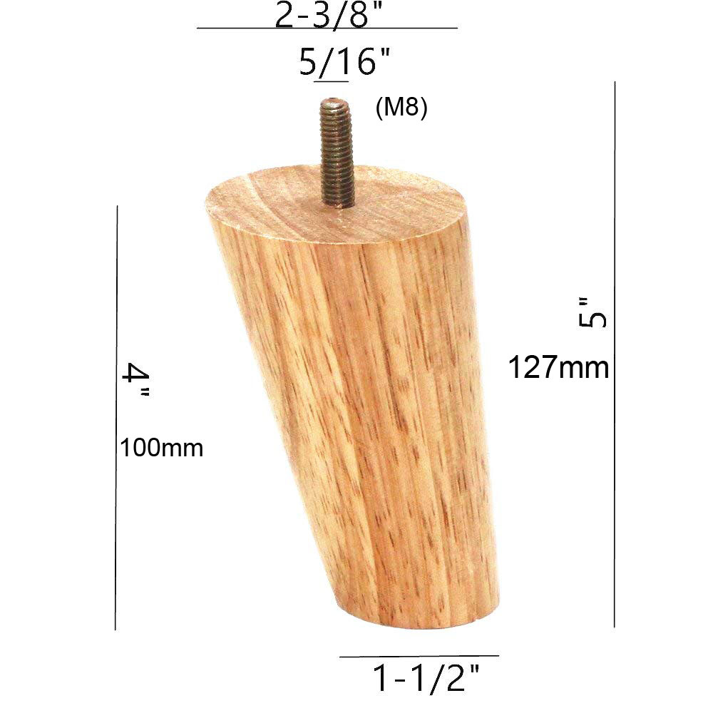 Image 4 - 10cm Height Wood Color Rubber Wood Furniture Legs M8 Thread Replacement for Cabinet Chair Couch Table Bed Feet Pack of 4-in Furniture Legs from Furniture