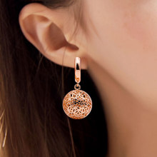 Korean Trendy Earrings Unique Hollow Ball 585 Gold Long Dangle Earring Women Ladies Accessories Fashion Wedding Party Jewelry(China)