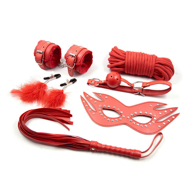 6 Pieces Kit Red PU Leather Fetish Sex Bondage Restraint Handcuff Gag Queen Constume Nipple Clamps Whip Sex Toy For Couples