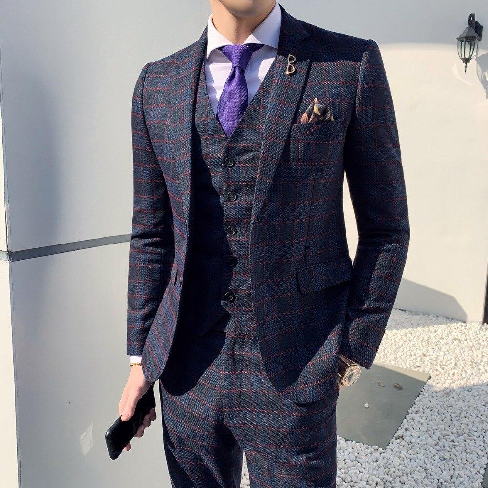 Mens Suits With Pants 3 Pieces Suit Vest Retro Plaid Slim Fit Formal Wedding Suits For Men Set Formal Dress Tuxedo 3XL 2019