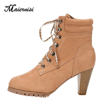 MAIERNISI Women Boots Lace Up High Heel Shoes 8cm Fashion Martin Big Size 35-42 Stilettos Ankle