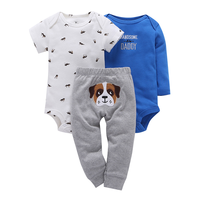 купить 3pcs/set Dog Applique Newborn Baby Girls Clothes Tops T-shirt+Cotton Pants 2pcs suit newborn baby boys girls clothing sets онлайн