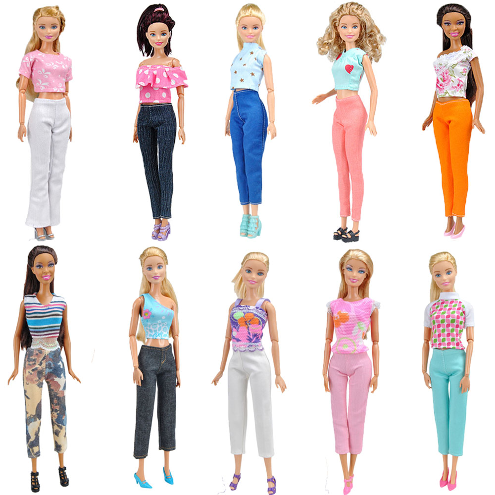 E-TING Hot Sale 10 Sets Handmade Doll Clothes  Fashion Girls Suit Tops Blouse Pants Trousers For Barbie Accessories Shoes Gifts autonomous design handmade gifts for girls doll accessories evening suit wedding dress clothes for barbie doll bbi00508