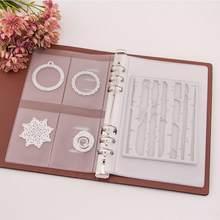 Scrapbooking matrices de découpe organisateur Collection de timbres livre de rangement d'album couverture en cuir PU Pages intérieures et poches en plastique
