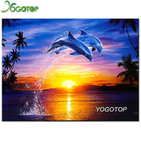 YOGOTOP DIY 5D Diamond Mosaic Dolphins Full Diamond Painting Cross Stitch Kits Square Diamonds Embroidery Home