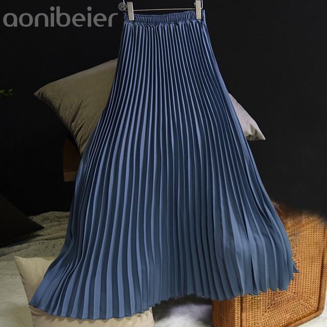 Aonibeier Rắn Màu Phụ Nữ Maxi Váy Mùa Xuân Thời Trang Đàn Hồi Cao Eo Váy Xếp Li Màu Đen Chiều Dài Váy Nữ Váy Giản Dị