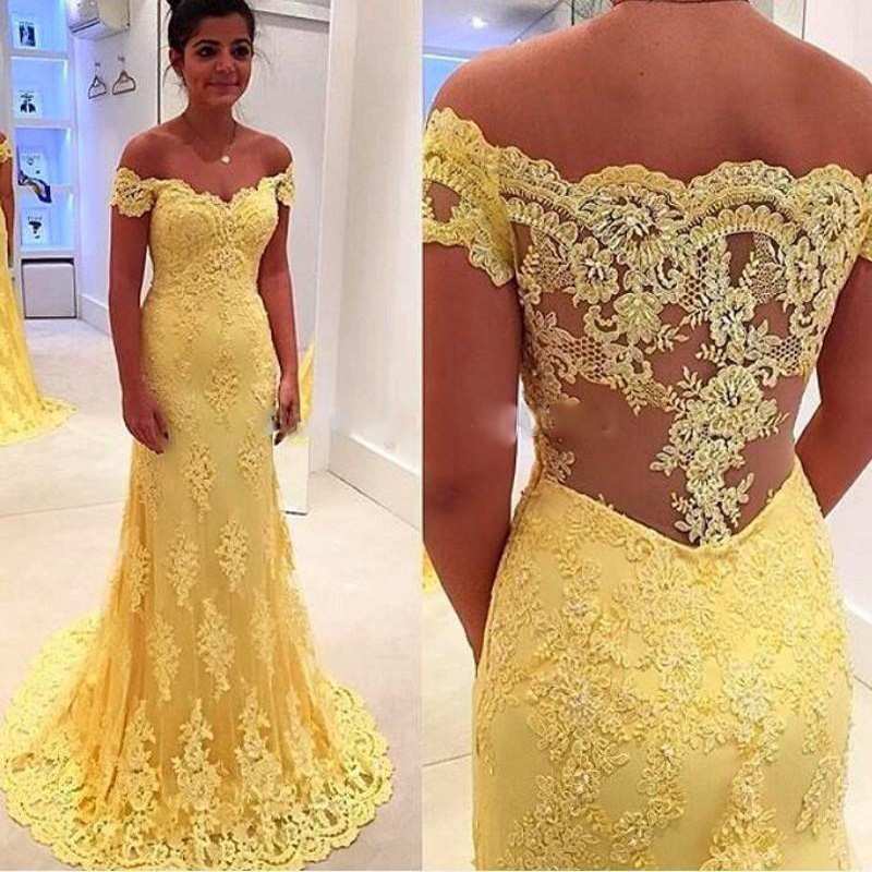 2016 Sexy Off Shoulder Prom Yellow Dresses Plus Size Strapless
