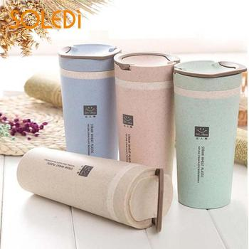 Coffee Cup Green Glass Cup Outdoor Insulation Go out Wheat Straw Carry Handy Cup Nordic Green