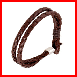Fashion Punk Jewelry Cheap Price PU Leather Bracelet Trendy Brown Color Leather Cuff Bracelet