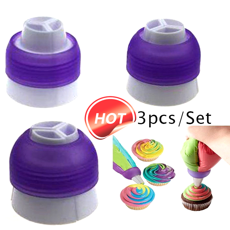 3pcs Different Size Pastry 3 Color Coupler Cake Decorating