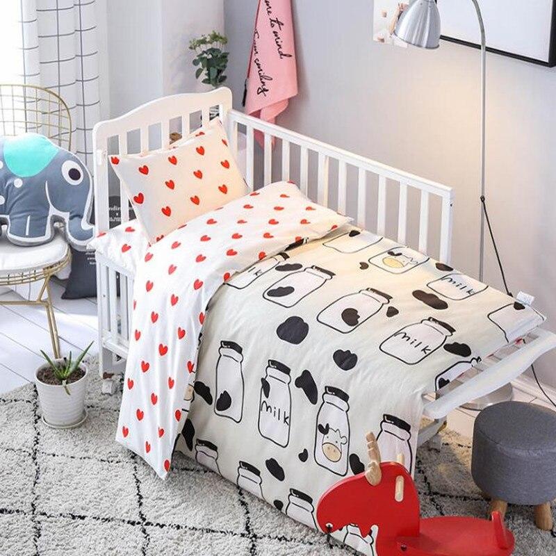 3Pcs/set Baby Bedding Set Cotton Cartoon Pattern AB Version Two-faced Baby Quilt Mattress Cover Pillowcase Newborns Bed Bedding
