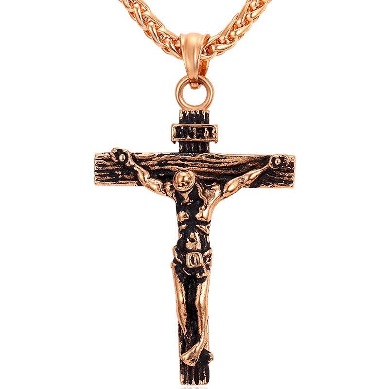 Cruz de Jesús con cadenas joyería del Mens del acero inoxidable INRI ...