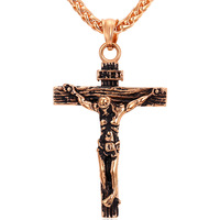 Gold Cross Necklace 2015 New 18K Real Gold Plated Stainless Steel Classic Design Religious Necklaces Pendants