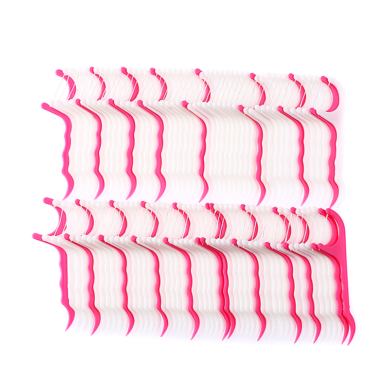 100 Pcs/Lot Disposable Dental Flosser Interdental Brush Teeth Stick Toothpicks Floss Pick Oral Gum Teeth Cleaning Care(China)