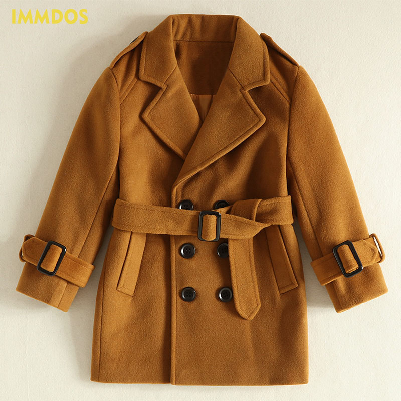 IMMDOS Winter Children Thick Wool Coat For Girls Long Sleeve Lolita Outwear Kids High Quality Fashion 2018 New Year Clothing immdos winter new arrival down jacket for boy children hooded outwear kids thick coat baby long sleeve pocket fashion clothing page 3