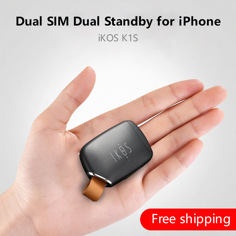 Dual Sim Dual Standby Adapter iKOS K1S No Jailbreak iOS 11 Call Text Functions For iPhone5 7/ i Pod Touch 6th/i Pad