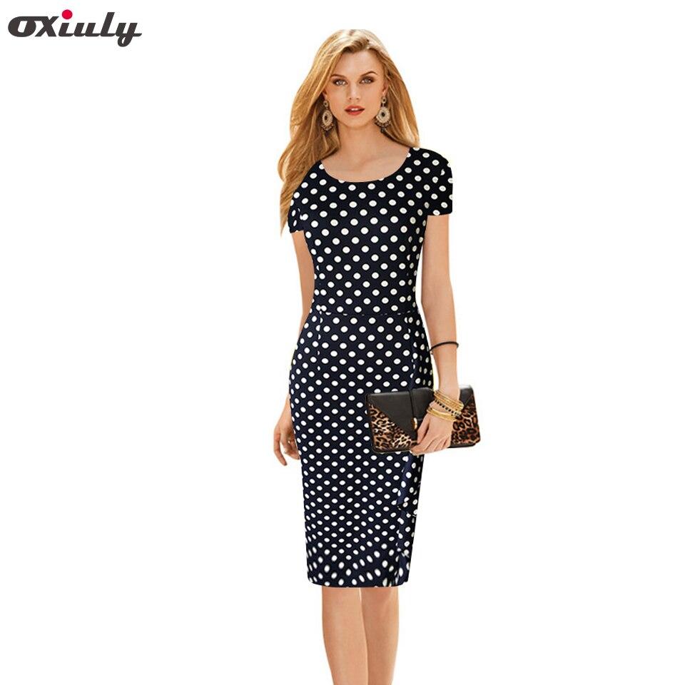 057433635760f Oxiuly yeni kadın vintage nokta baskı kısa kollu o-boyun sıkı zayıflama  parti dress vintage