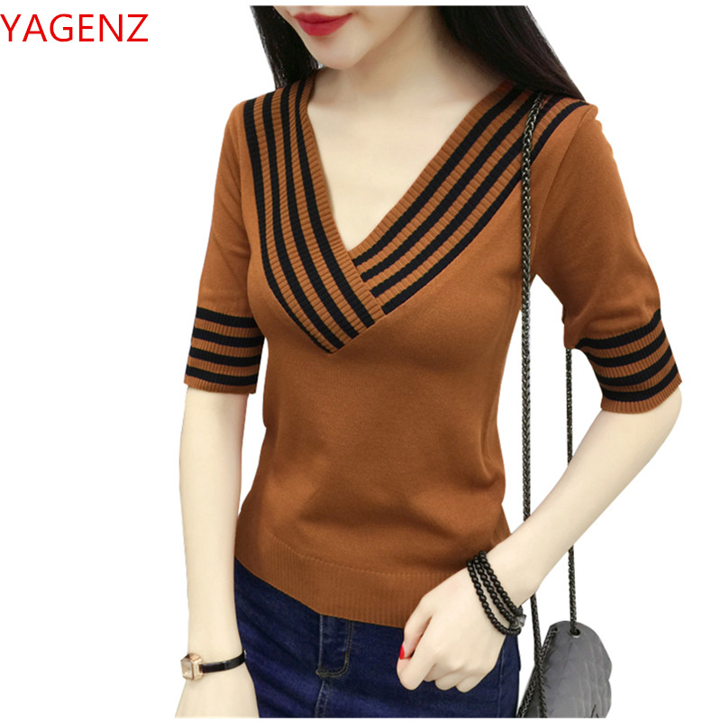Knitting Sweater Women Clothing Fashion Korea New Top Student White Elasticity Five-Point-Sleeve