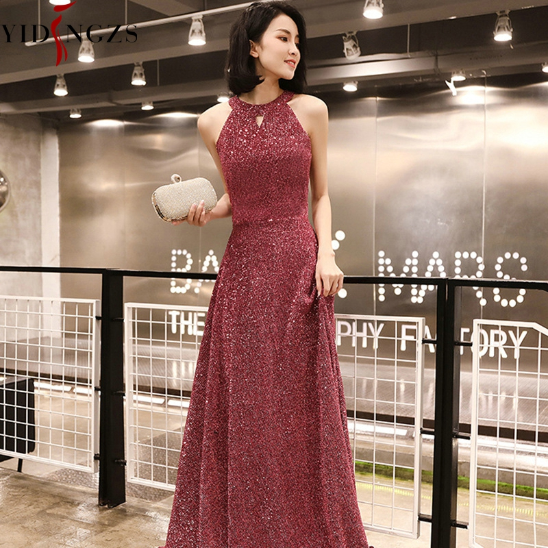 Robe De Soiree YIDINGZS New Elegant Long Evening Dress Dark Pink Evening Party Dress Real Simple