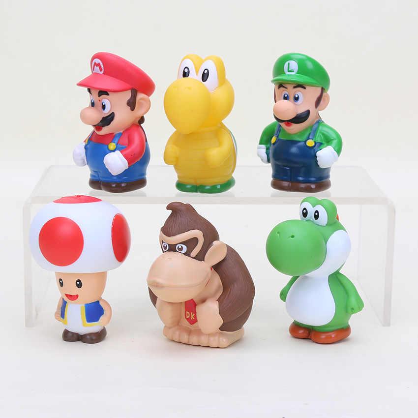 6pcs Set Super Mario Bros Figure Doll Koopa Troopa Toad Mario