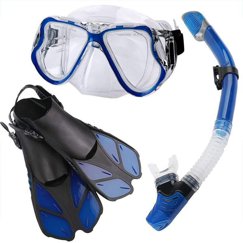 PANO4 + DRY Snorkeling Set Swimming Fins Silicone Skirt Panoramic Scuba Diving Mask Dry Snorkel For Adults  Silicone Glasses