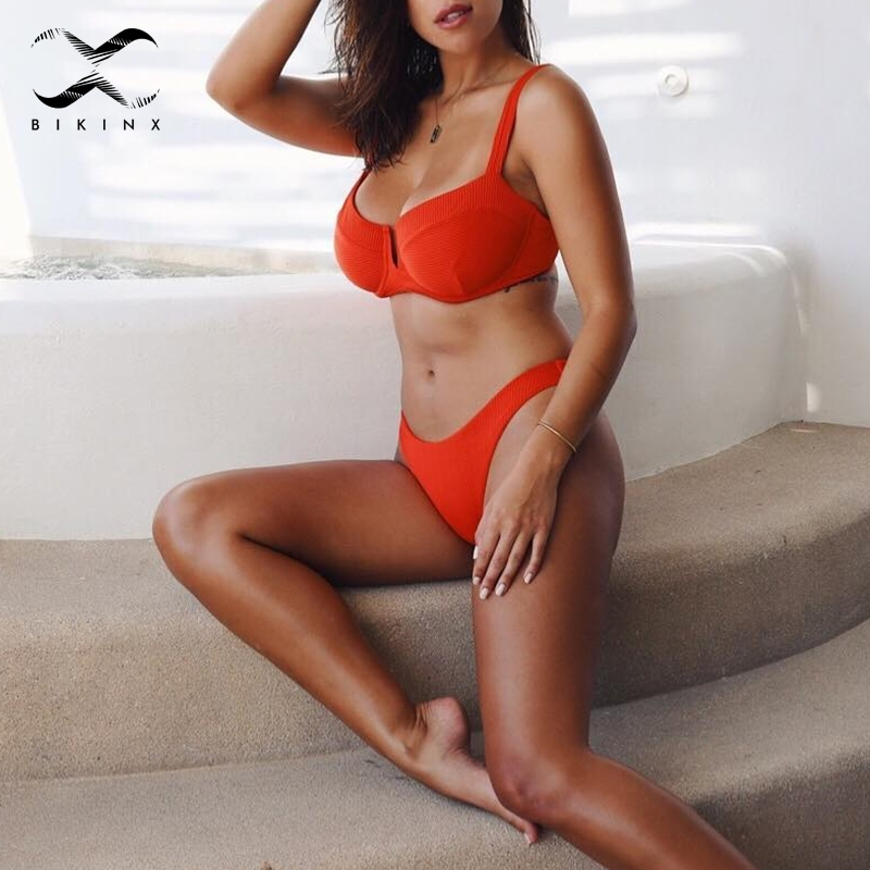 Bikinx Ribbed red bathing suit women bathers Deep v female swimsuit 2018 Push up sexy swimwear Micro bikini set high cut biquini 2