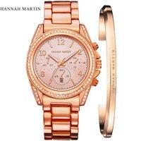 London Style Famous Brand HM Women Rhinestones Wristwatches Rose Gold Luxury Quartz Watch Fashion Bracelet Watches