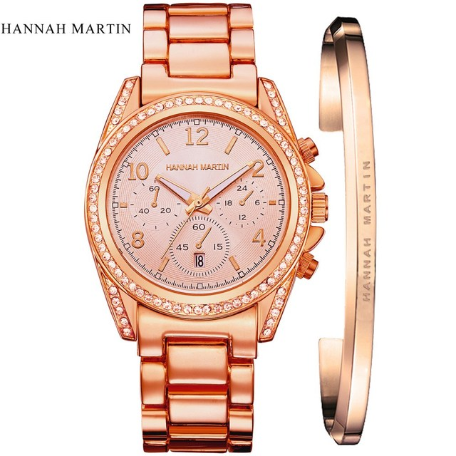 London Style Famous Brand HM Women Rhinestones Wristwatches Rose Gold Luxury Qua