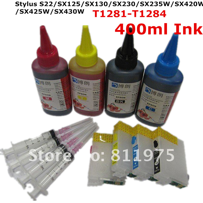 T1281-1284 Refillable ink cartridge for EPSON Stylus S22 SX125 SX130 SX230 SX235W + for EPSON Dey ink each color 100ML 850ml compatible empty refillable ink cartridge for epson stylus pro 10000 pro 10600 10000cf printers cartridge with chip t499