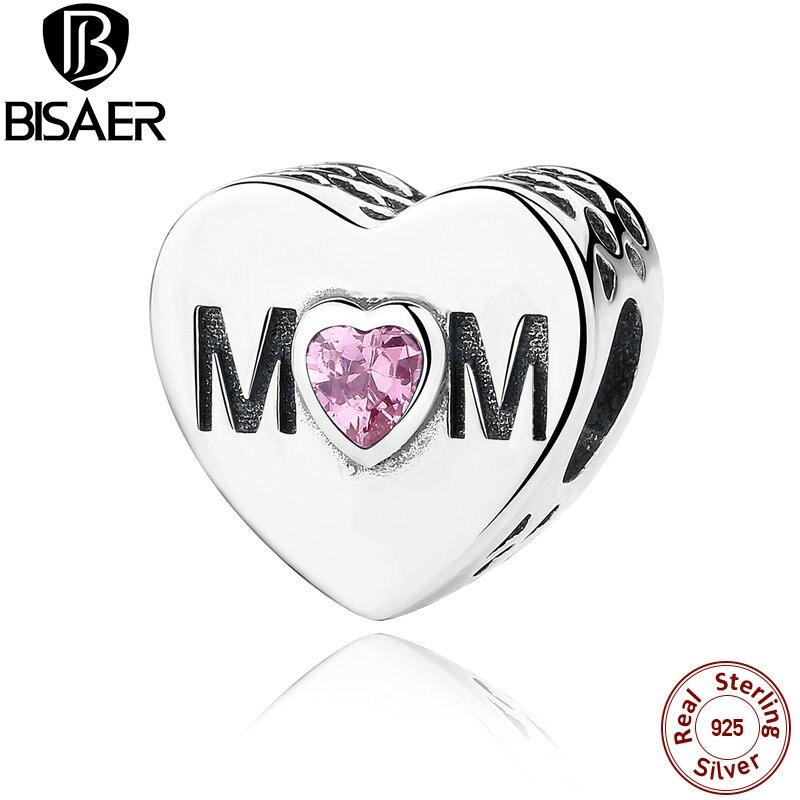 Prix pour Réel 925 Sterling Argent Rose CZ Ajouré Maman Charme Perles fit Pandora Charm Bracelet DIY Bijoux Accessoires GOS299