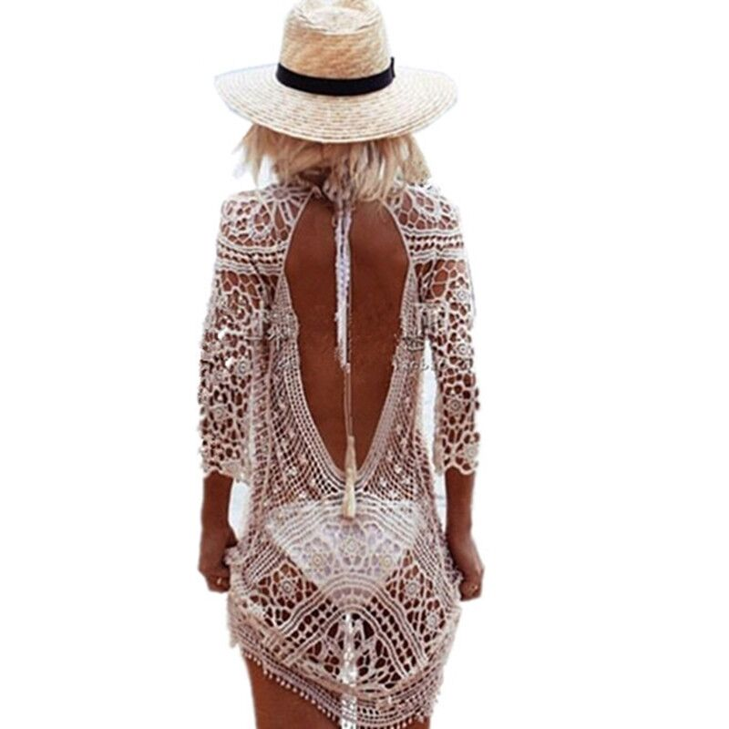 Bikini Crochet Cover Up Beach Mujer Beach Dress Cover Ups Traje de baño Traje de baño Swimwear Cover Plus Talla Saida De Beach