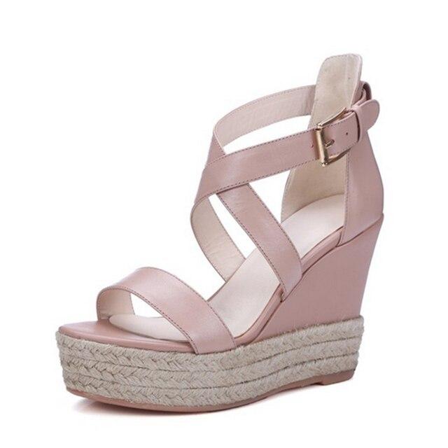 dba8412a0a 10 centímetros Sola Grossa com sapatos de Plataforma de Couro genuíno Novo  Verão Moda Capa Salto