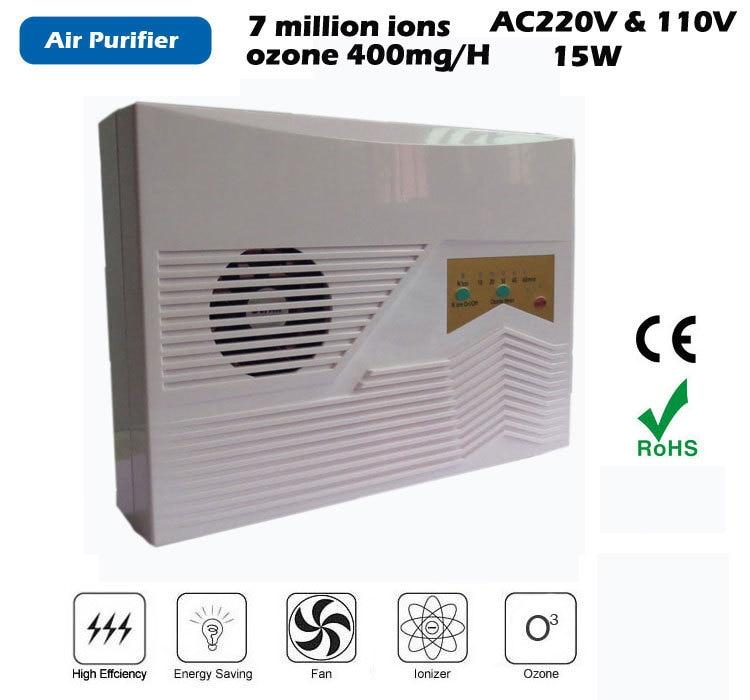 Hoem purificateur d'air 220 V 110 V puissance 14 W, générateur d'ozone sortie 400 mg/H ioniseur densité 7 millionpcs/cm3 anion générateur