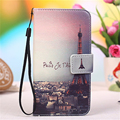 Fashion Colorful PU Leather Flip Case for Fly FS501 Nimbus 3 Eiffel Tower Butterfly Kitty Girls Wallet Phone Cover Strap