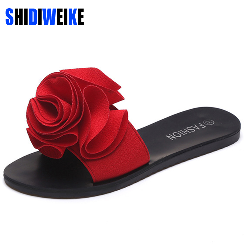 SHIDIWEIKE 2018 New Slippers Platform Sandals Slip On Flats Casual Shoes Woman Beach Flip Flops Flowers Women Shoes b851 2017 summer pearl women slippers velvet sandals flip flops slip on flats woman beach platform women shoes plus size 35 39