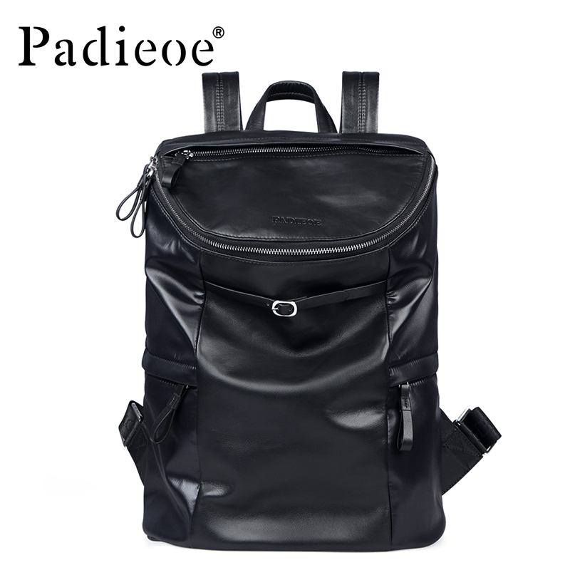 все цены на Padieoe Fashion Men Genuine Leather Backpack Waterproof Casual Travel Large Capacity Beach Bag Backpack Teenagers School Bags
