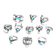 Hot 11 PCS/Set Vintage Mix Design Stone Knuckle Rings Set For Women Boho Geometric Pattern Flower Rings Party Fashion Jewelry(China)