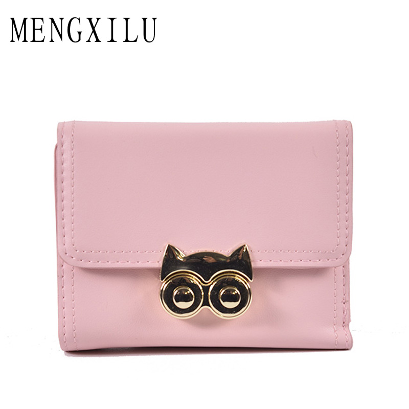 MENGXILU New Fashion Owl Women Wallet Female Purse PU Leather Wallets Short Design Clutch Famouse Brand Card Holder Lock 2018 ...