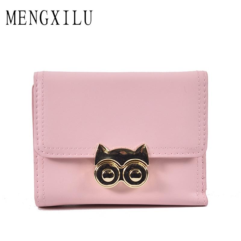 MENGXILU New Fashion Owl Women Wallet Female Purse PU Leather Wallets Short Design Clutch Famouse Brand Card Holder Lock 2018