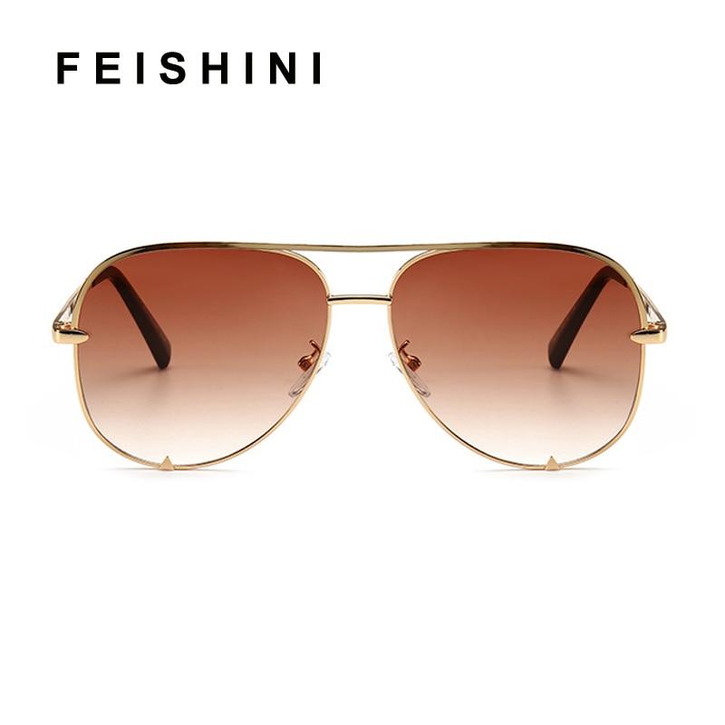 FEISHINI Trendy Silver Mirror Metal Sun Glasses Men Brand Designer Pilot Sunglasses Women Shades Top Fashion Eyewear Gradient in Women 39 s Sunglasses from Apparel Accessories