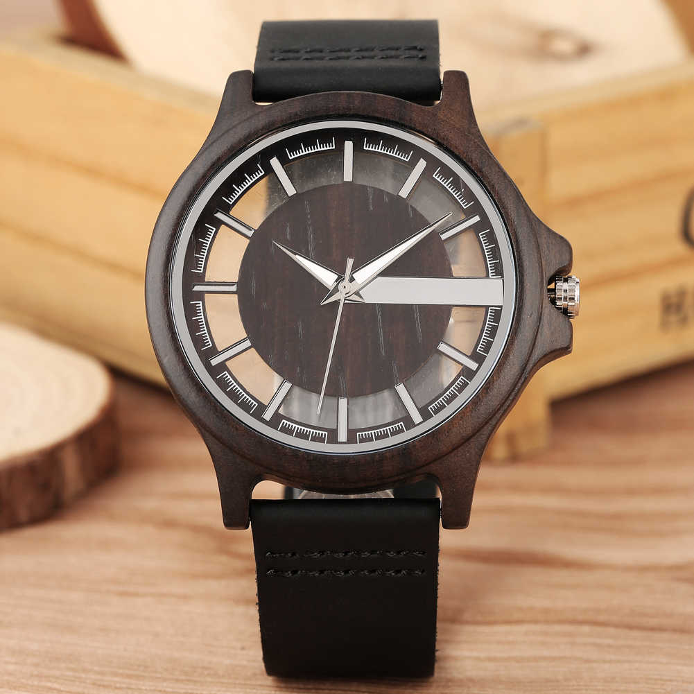 Handmade Natural Quartz Wood Watches Special Ultra-light Hollow-out Wooden Male Watch Geniune Leather Strap Men Clock New 2019
