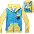 kids clothing new fashion boy Despicable Me Minions hoodies Long Sleeve Terry zipper Hooded Jumper Cartoon Hoodies Outerwear