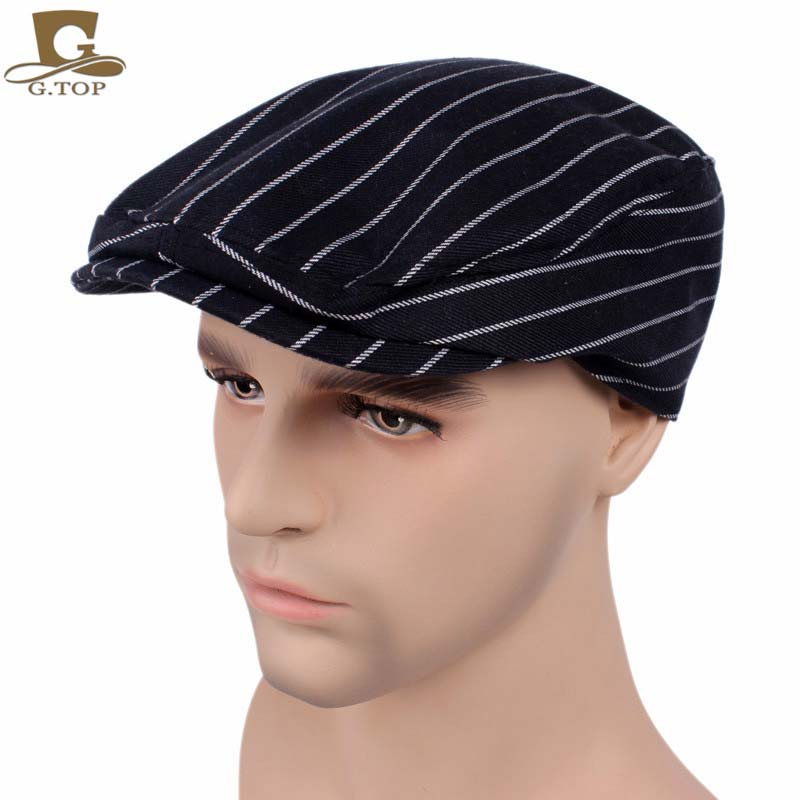 New Vintage Duckbill Driving Flat Lvy Beret Cap Cotton Striped Newsboy Peaked Sport Hat Golf Cabbie Hat