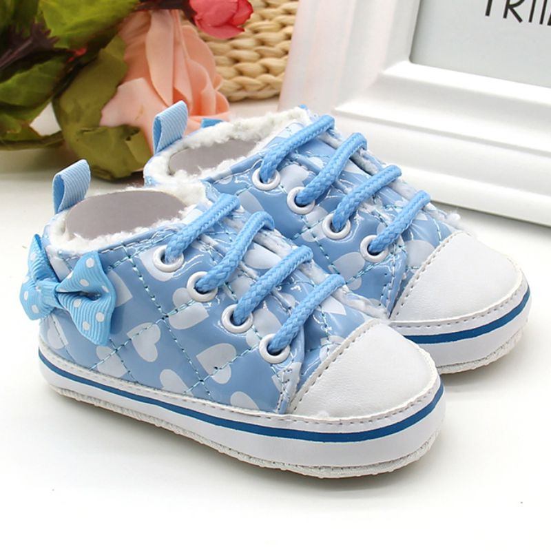 Spring Newborn Casual Baby Fleece Bowknot Polka Dot Lace Up Autumn Anti-skid Strap First Walkers Shoes