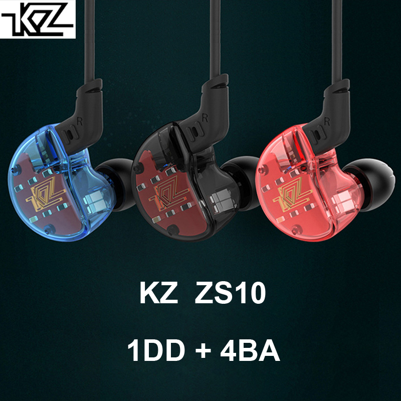 KZ ZS10 In-Ear Earphones DD+4BA Hybrid Drivers Audiophile HiFi In-Ear-Monitor IEMs Sports Earphones With Detachable Cable 3.5mm