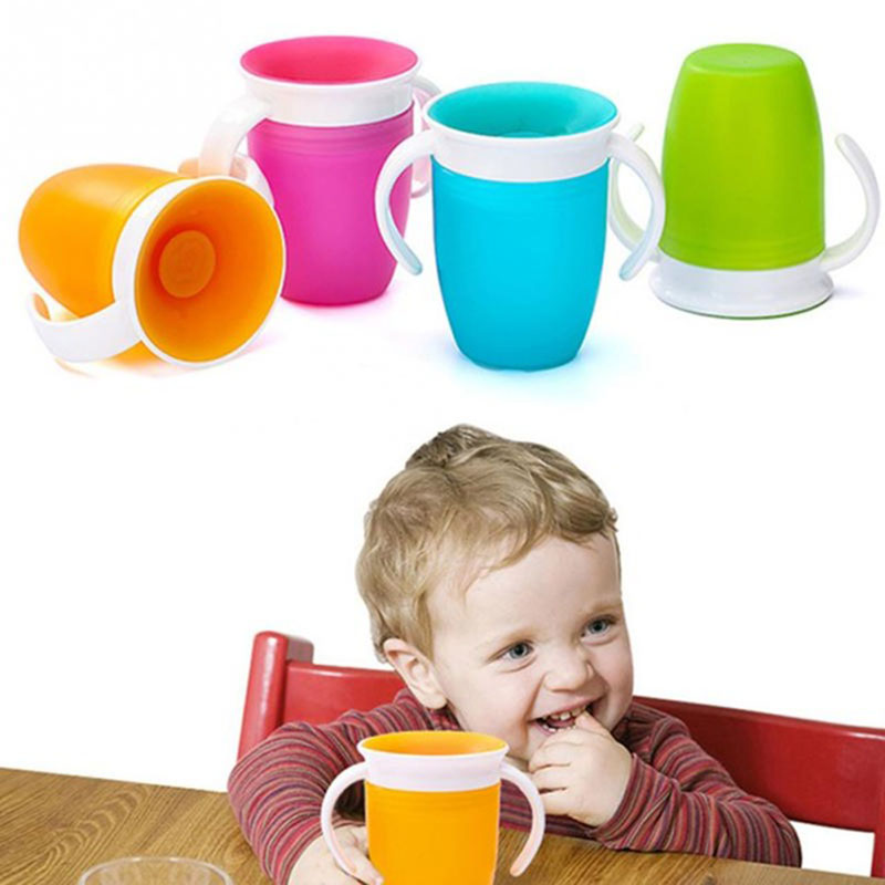 360 Degrees Can Be Rotated Baby Learning Drinking Cup With Double Handle Flip Lid Leakproof Infants Water Cups Bottle
