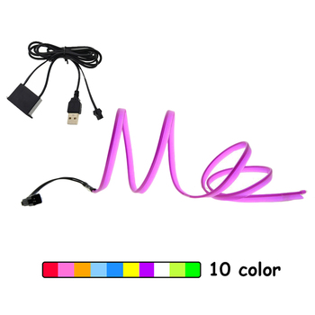 USB EL Wire 6mm Sewing Edge Car Lights Neon Glowing Strobing Electroluminescent Halloween Car Dance Party Decor striping Wire image