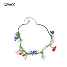 GWACC 2019 NEW Design Braided Beads Necklace For Women Color Statement Chocker Handmade Fruit Flower Shape Cute Clavicle Chain